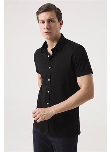 Tween Tween Slim Fit Beyaz Örme Gömlek Siyah